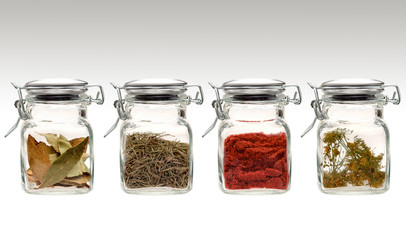 Spices in clear glass jars