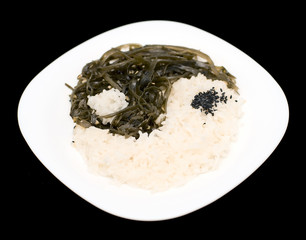 Yin and Yang from rice, laminaria and sesame seeds