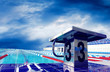 Open sport waterpool with sky