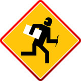 Warning - Criminal Thief Activity - vector illustration