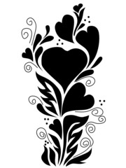 black floral print with heart
