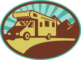 Camper van travel with mountains and sunburst poster