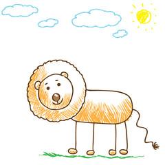 Cartoon doodle lion