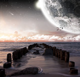 Fototapety Planet landscape view from a beach