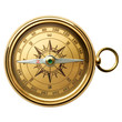 Gold compass on the white background