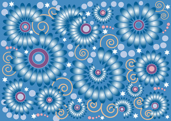 Blue  background with  flowers.  .Background. Wallpaper.