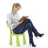 sitting young woman reading book.