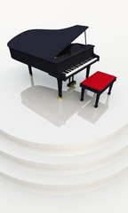 White Stage with Black Piano