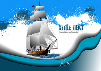 Grunge abstract background with sail ship image. Vector illustra