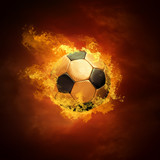Hot soccer ball on the speed in fires flame-