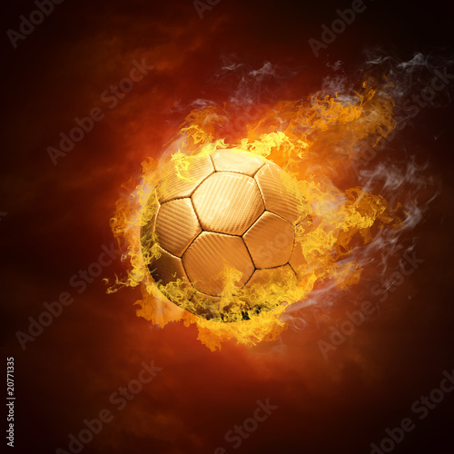 In de dag Vuur / Vlam Hot soccer ball on the speed in fires flame