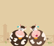 roleta: Farm animals: two happy cows. Vector Illustration.