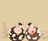 Farm animals: two happy cows. Vector Illustration. poster