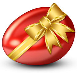 Red Easter egg with golden ribbon