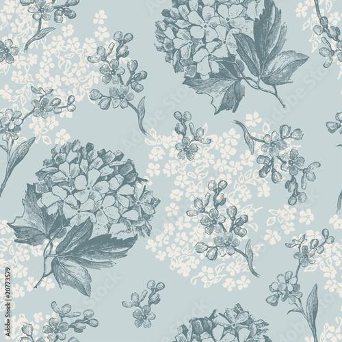 retro floral wallpaper - tiles seamlessly - 20773579