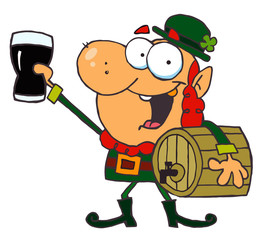 Lucky Leprechaun Toasting With A Glass And Carrying A Keg