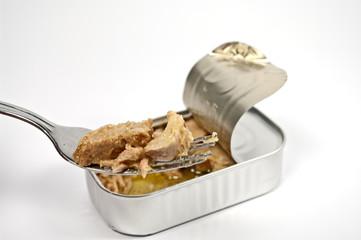 Thunfischstücke auf einerr Gabel