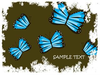 Blaue Schmetterlinge mit abstraktem Hintergrund
