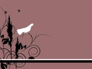 Taube mit floralen Elementen