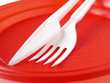 fork and knife in the red plate