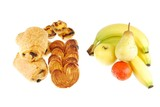 Healthy vs unhealthy (baked goods and fruits on white) poster