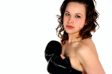 brunete  with black boxing gloves