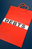 Shopping Bag and word debts poster