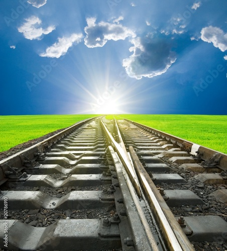 sunrise on a railway