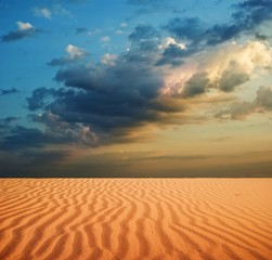 sand desert at the evening
