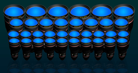 lots of camera lenses of different sizes and focal lenght
