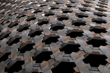 Metal texture  pattern with hexagon holes