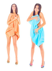 women after bath under towels