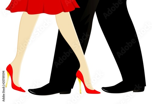 poster of beautiful womanish and masculine legs dance