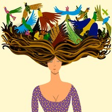 woman with birds flying from its hair