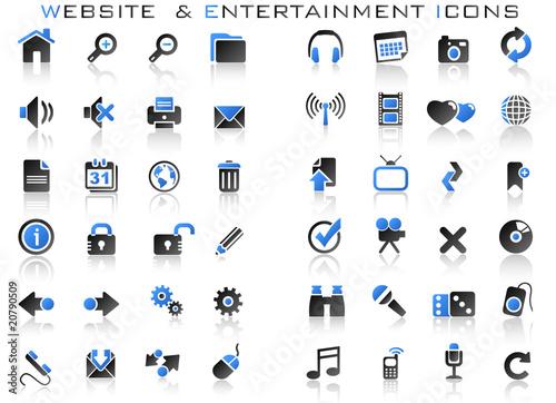 48 górnych ikon - zestaw ikon rozrywki internetowej - niebieski