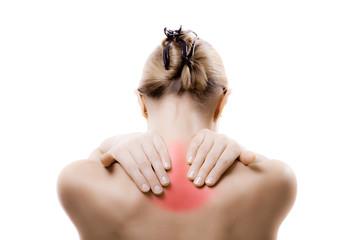 Woman massaging pain neck