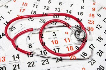 Calendar Pages and Stethoscope