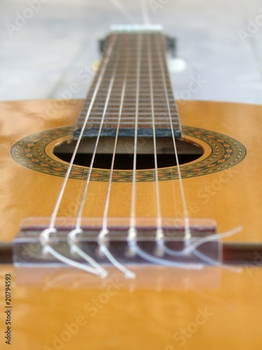 Spanish guitar seen from the bridge