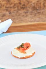 Canape with gravlax salmon and cream cheese.