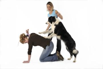 apprendre au chien à monter sur le dos de sa maîtresse
