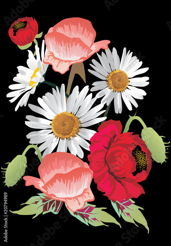 red poppy and white chamomile decoration