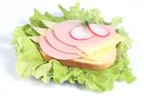 Ham sandwich with cheese, radish and greenery poster