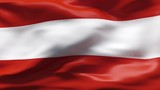 Creased Austria flag in wind with seams and wrinkle poster