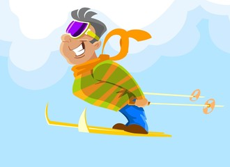 Cheerful skier jumping against the blue sky.