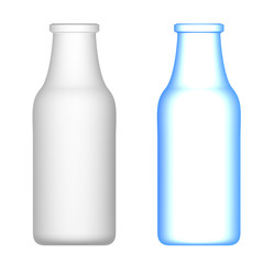 Milk Bottles : Transparent and opaque