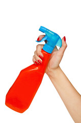 Female hand holding spray - cleaning concept