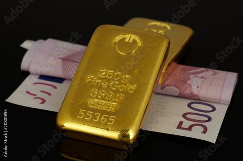 Leinwanddruck Bild Goldbarren