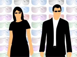 Illustration of sunglasses and people