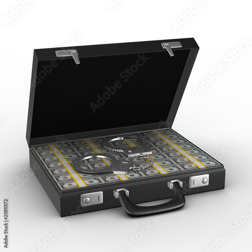 Criminal money in suitcase. Isolated 3D image