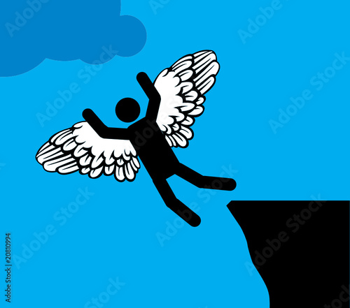Man with wings jump into a blue sky